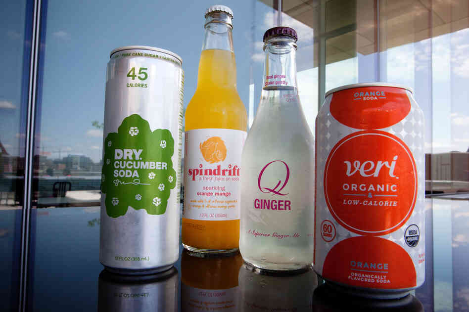 Samples from Dry Soda, Spindrift, Q and Veri Organic, four small companies that are trying to win back soda lovers by lowering the sugar.