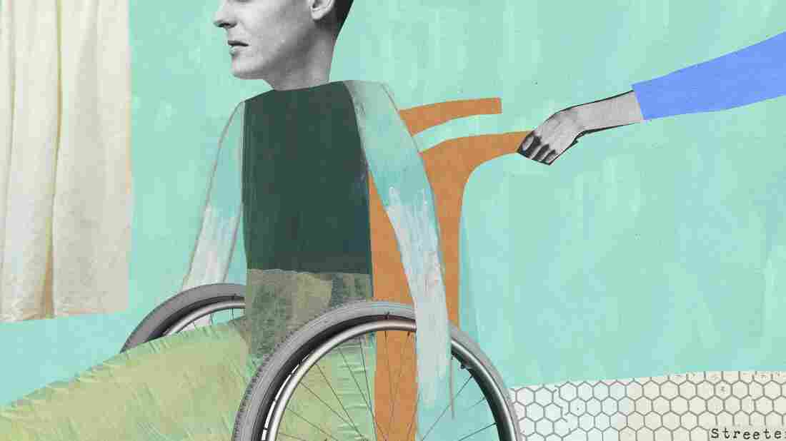 An illustration of a disabled man sitting in a wheelchair at the hospital by Katherine Streeter for NPR.