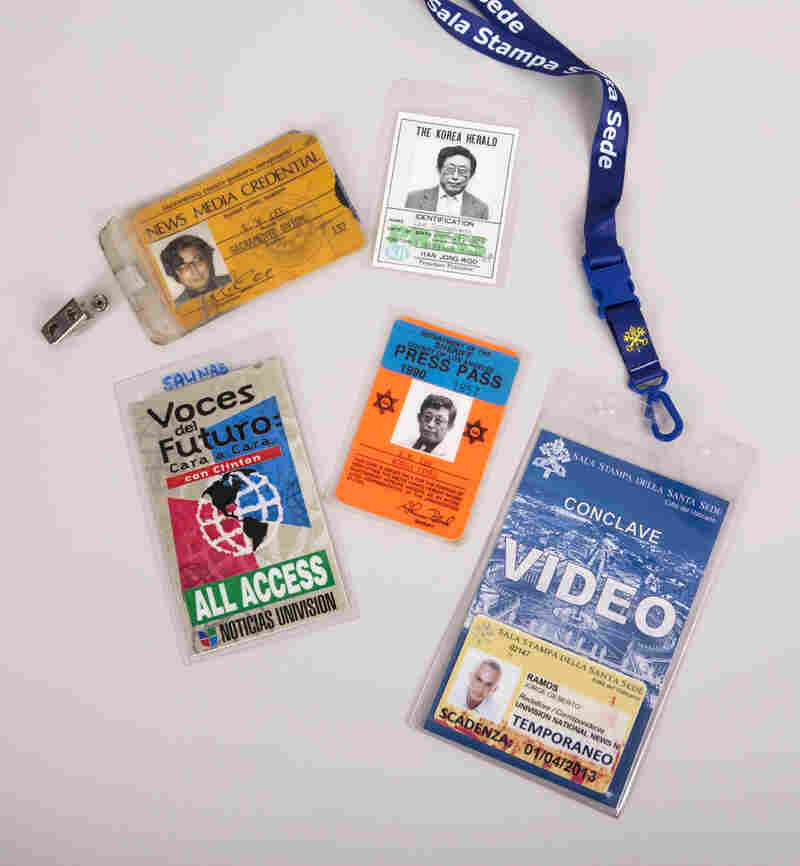 These press passes were used by leading ethnic journalists, including Korean American reporter K.W. Lee and Spanish-language news anchors María Elena Salinas and Jorge Ramos.