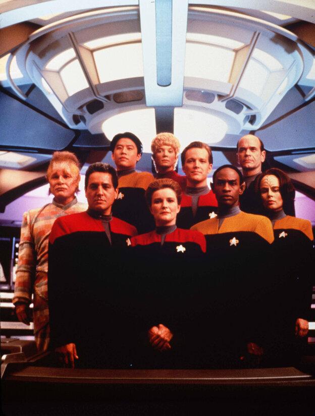 The crew of Star Trek: Voyager