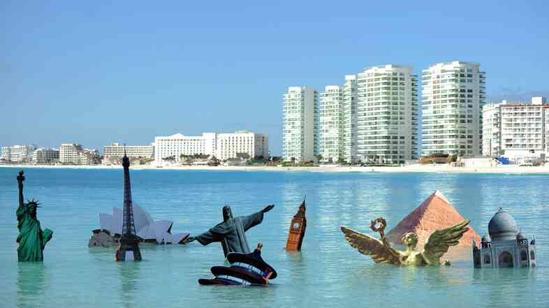 A Greenpeace protest in 2010 juxtaposes the drowning of some of the world's most iconic structures with Cancun, Mexico's, rising skyline.