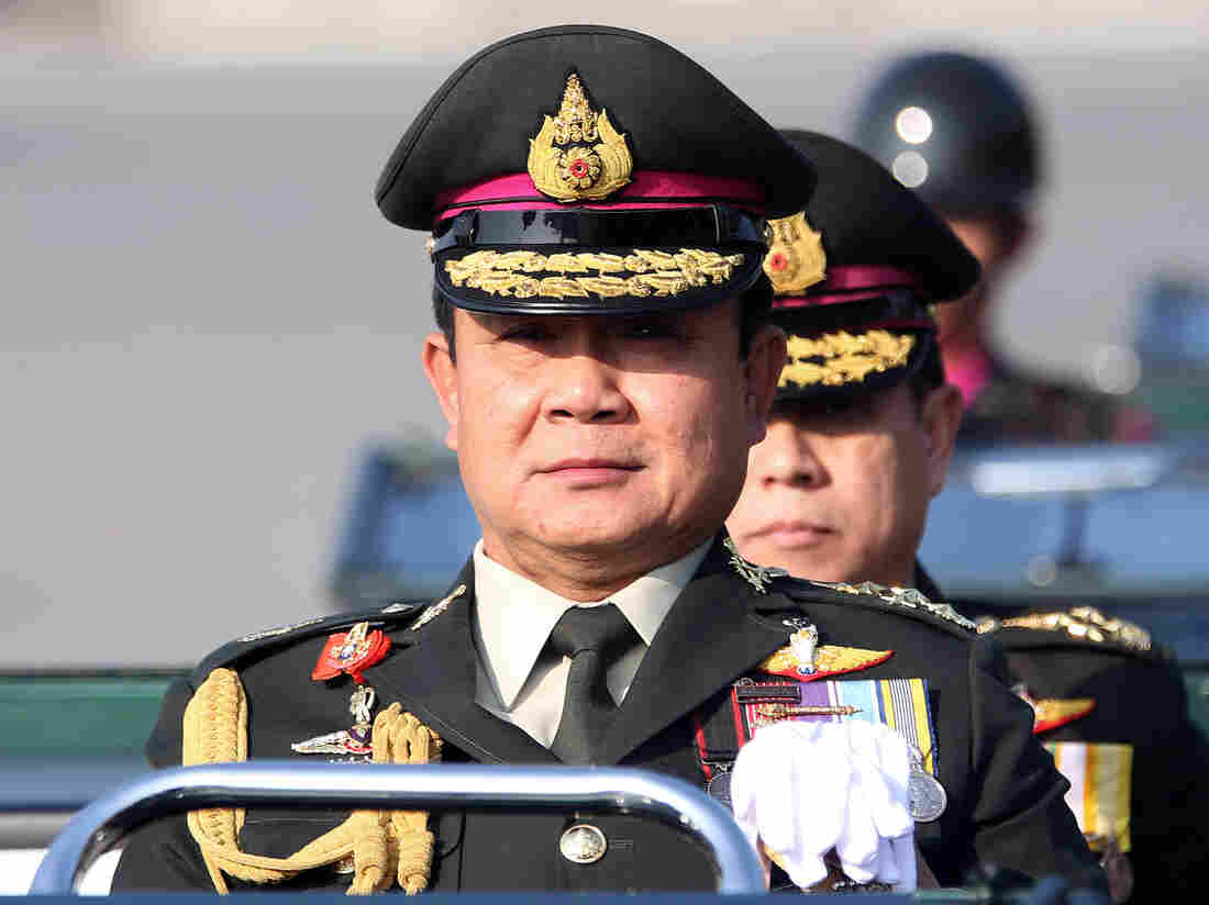 Commander-in-Chief of the Royal Thai Army Gen. Prayuth Chan-ocha (front) during a military parade in January. The army has declared martial law amid months of political unrest.