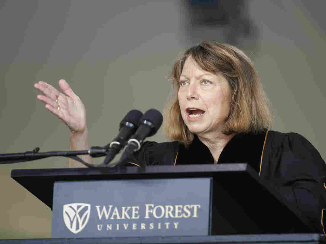 Jill Abramson, former executive editor of The New York Times, speaks at the commencement ceremony at Wake Forest University on Monday.