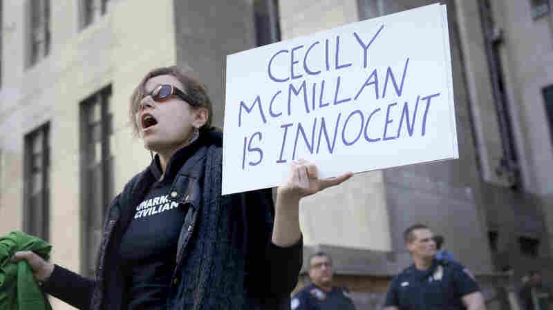 Sarah Wellington stands in front of the courthouse after the sentencing of Cecily McMillan in New York, on Monday. McMillan, an Occupy Wall Street activist convicted of assaulting a police officer, was sentenced to 90 days in jail.