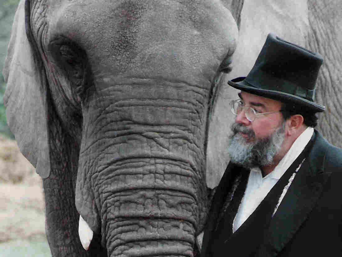 The elephant and the groom: Beside David Balding, Flora takes her place as maid of honor at Balding's 1994 wedding.