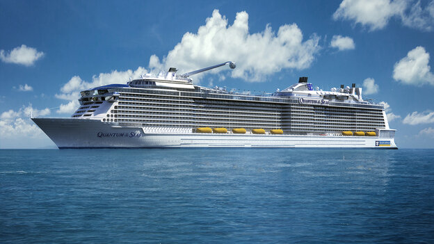 This computer-generated image provided by the Royal Caribbean International cruise line shows its forthcoming ship, Quantum of the Seas.