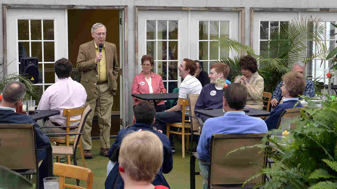 Senate Republican leader Mitch McConnell speaks to supporters Saturday at the Tanglewood Farms Restaurant in Franklin, Ky. McConnell faces Tea Party challenger Matt Bevin and several other lesser-known candidates in Tuesday's GOP primary.