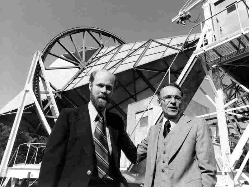 Robert W. Wilson (left) and Arno Penzias pose next to their antenna after winning the Nobel Prize in 1978 for discovering the Big Bang's afterglow.