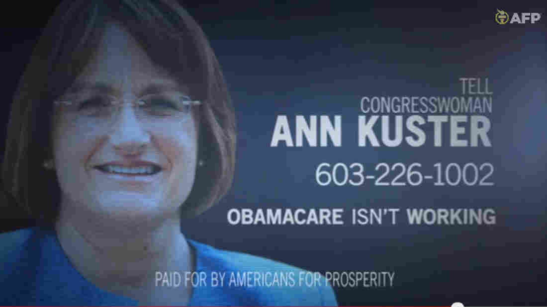 A frame grab image from video provided by Americans for Prosperity shows a political ad against Rep. Ann McLane Kuster, D-N.H., stating the Affordable Care Act is not working.