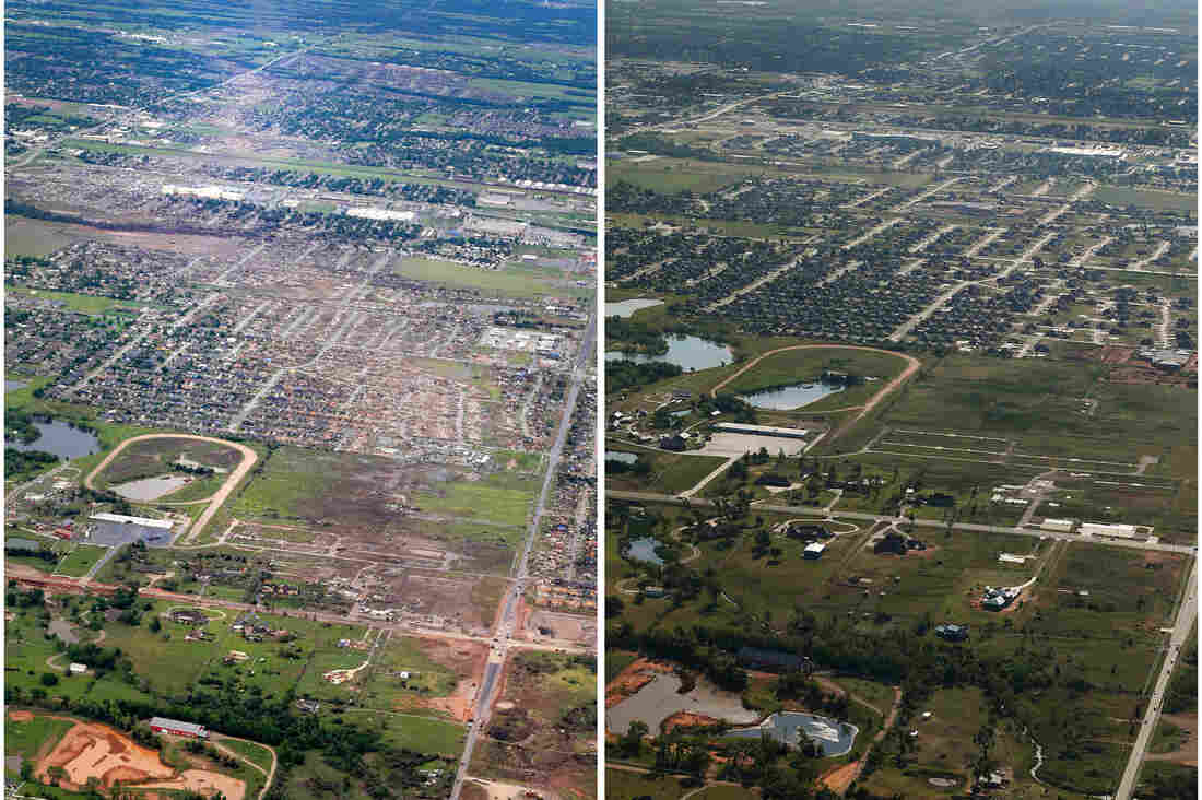 Aerial photos show Moore, Okla., in May 2013 and again one year later. Despite the town's history of destructive tornadoes, several companies are moving forward with pre-existing plans to open in Moore.