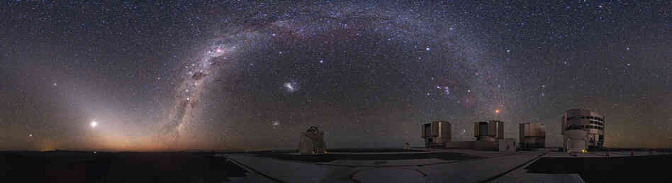 The Milky Way arches above the European Southern Observatory's facility at Cerro Paranal in Chile's Atacama Desert.