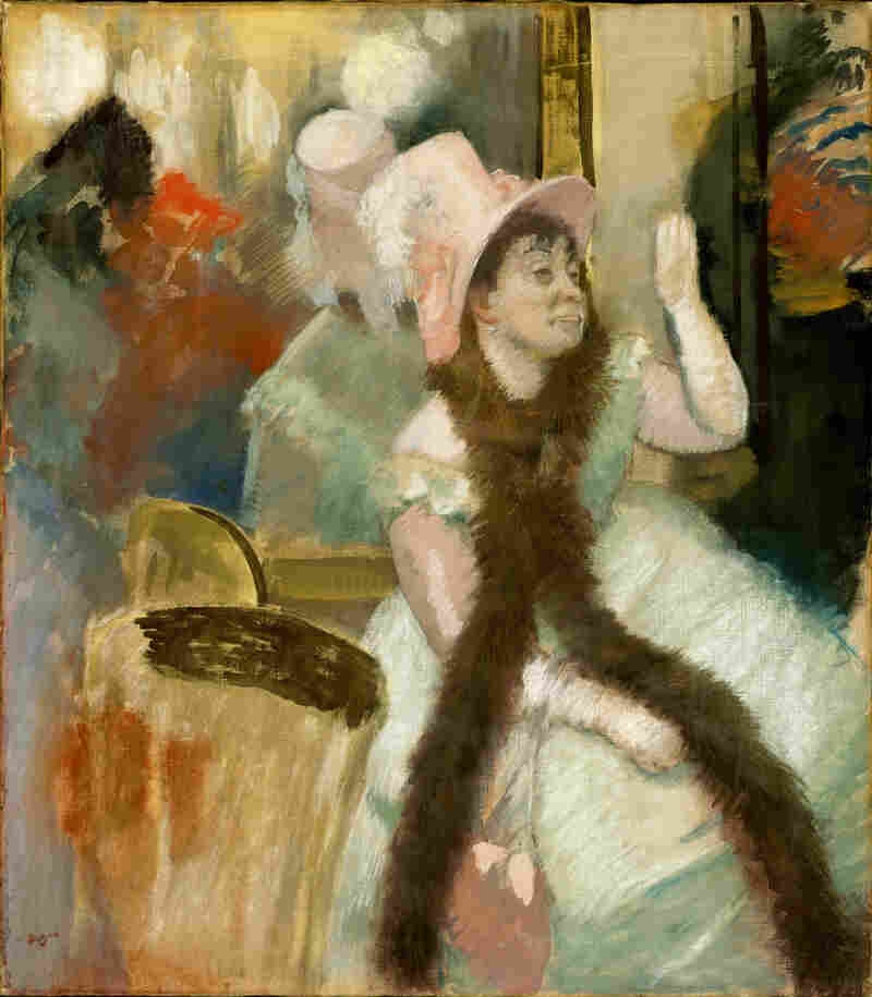 It's possible that Cassatt's use of unconventional materials inspired Degas' textured surface on Portrait after a Costume Ball (1879).