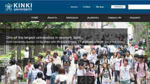 An image of the Kinki University website. The school plans to change its name, citing possible misunderstandings by English speakers.