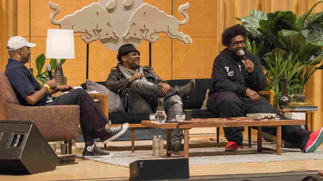 Questlove (far right) intermittently joined D'Angelo and Nelson George onstage at the Brooklyn Museum.
