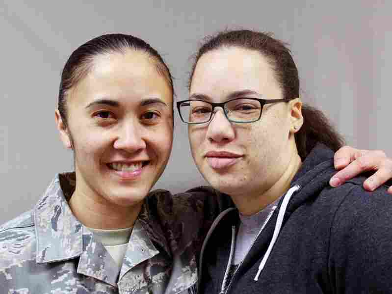 MaCherie Dunbar (right), with her girlfriend, Barb Maglaqui, an active duty Air National Guard medic. Dunbar, who is currently enrolled at the University of Alaska, Fairbanks, hopes to retire from the Air Force this year.