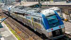 A SNCF Regional Express Train is seen at Hazebrouck's train station in northern France on Thursday. France's train operators admit they made a mistake in ordering new trains that will require millions of dollars to modify station platforms.