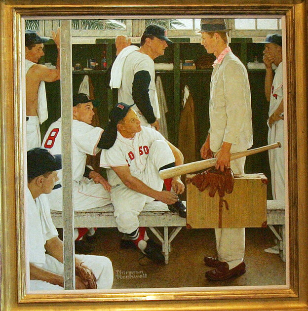 Norman Rockwell's The Rookie, seen here on display in 2005, sold at auction for $22.5 million Thursday.