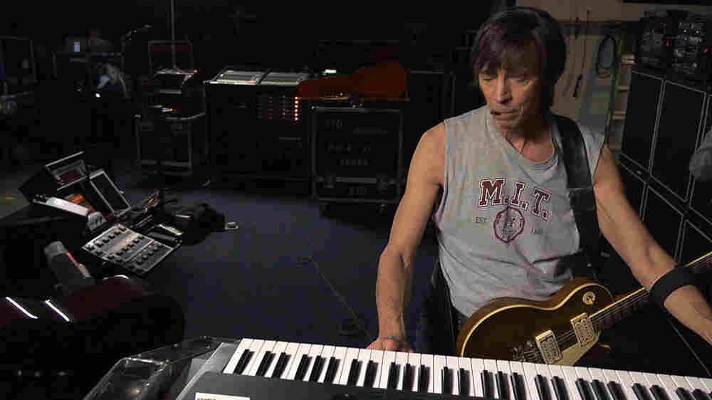 Songwriter, musician and engineer Tom Scholz in his studio.