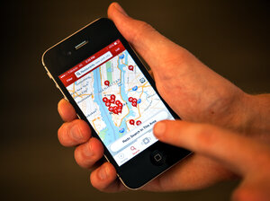 The Yelp app maps out restaurant locations in Manhattan.