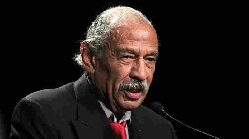 Rep. John Conyers, D-Mich., addresses supporters during the Michigan Democratic election night party in Detroit. Conyers has served in Congress since 1964, but problems with ballot petitions have threatened to keep him out of the August primary.