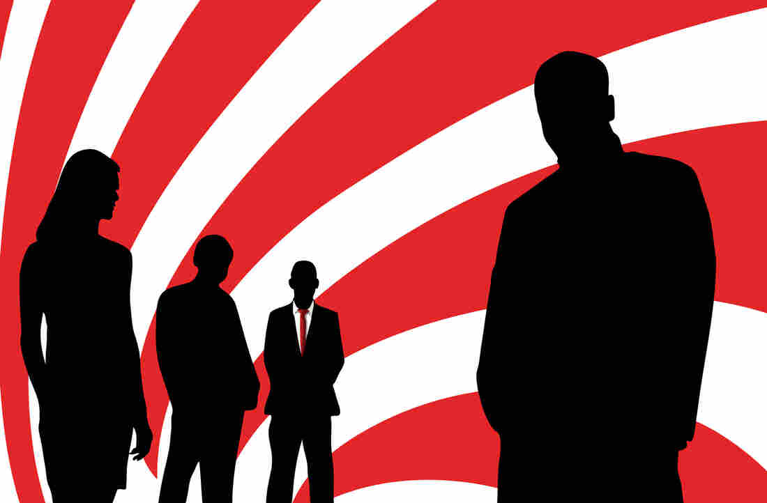 An illustration showing the silhouettes of four people against a swirling red-an-white background.