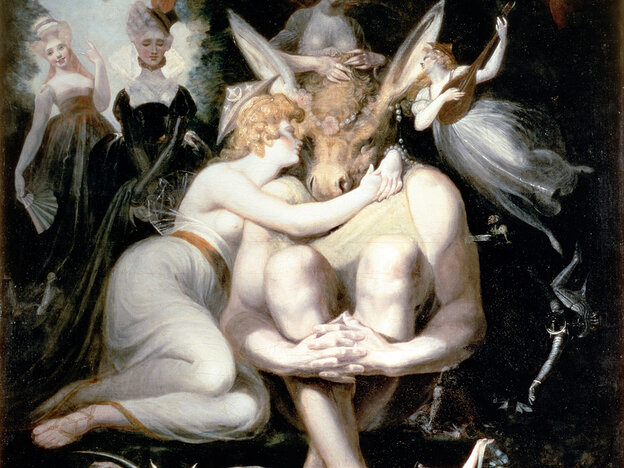 Titania awakes clinging rapturously to Bottom, still wearing the donkey's head, in Shakespeare's A Midsummer Night's Dream. Mendelssohn wrote music for a production of the play in 1843.