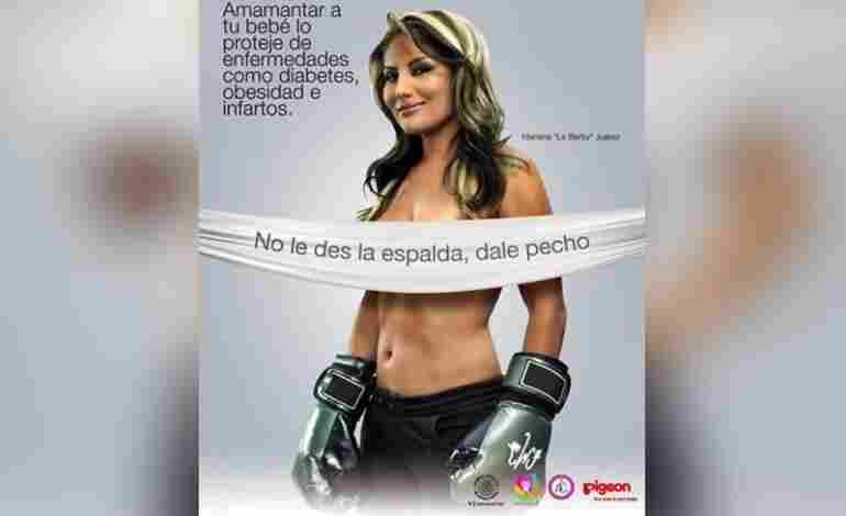"""A Mexico City breast-feeding campaigned used posters featuring topless celebrities. At least """"La Barbie,"""" a female boxer (shown here), had her boxing gloves on."""