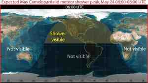 A map from NASA predicts the peak viewing areas and times for the Camelopardalids meteor shower Friday night and early Saturday.