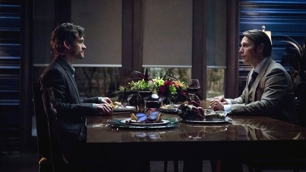 Hugh Dancy as Will Graham and Mads Mikkelsen as Hannibal Lecter in NBC's surprising Hannibal.