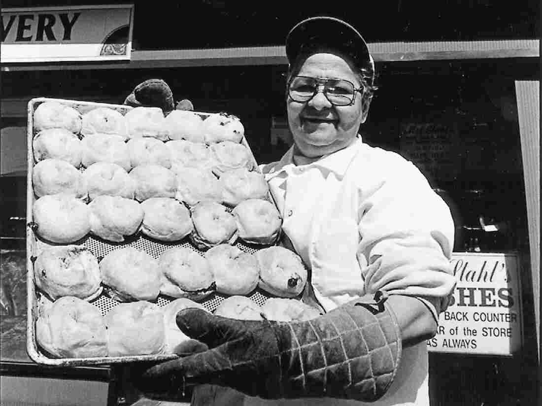 A woman in front of Mrs. Stahl's knish shop in Brooklyn's Brighton Beach neighborhood where author Laura Silver went as a child.
