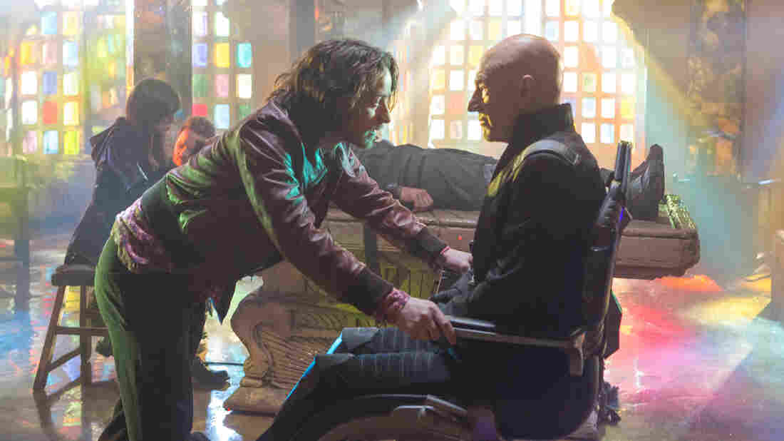 James McAvoy as Charles Xavier and Patrick Stewart ... also as Charles Xavier in X-Men: Days Of Future Past.