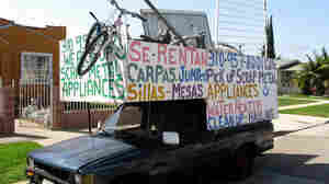 Andy Ramirez's modified truck, built to hold extra cargo, is his living. Ramirez is a scrapper in Los Angeles and says he makes about $100 a day collecting scrap metal and selling it for recycling.
