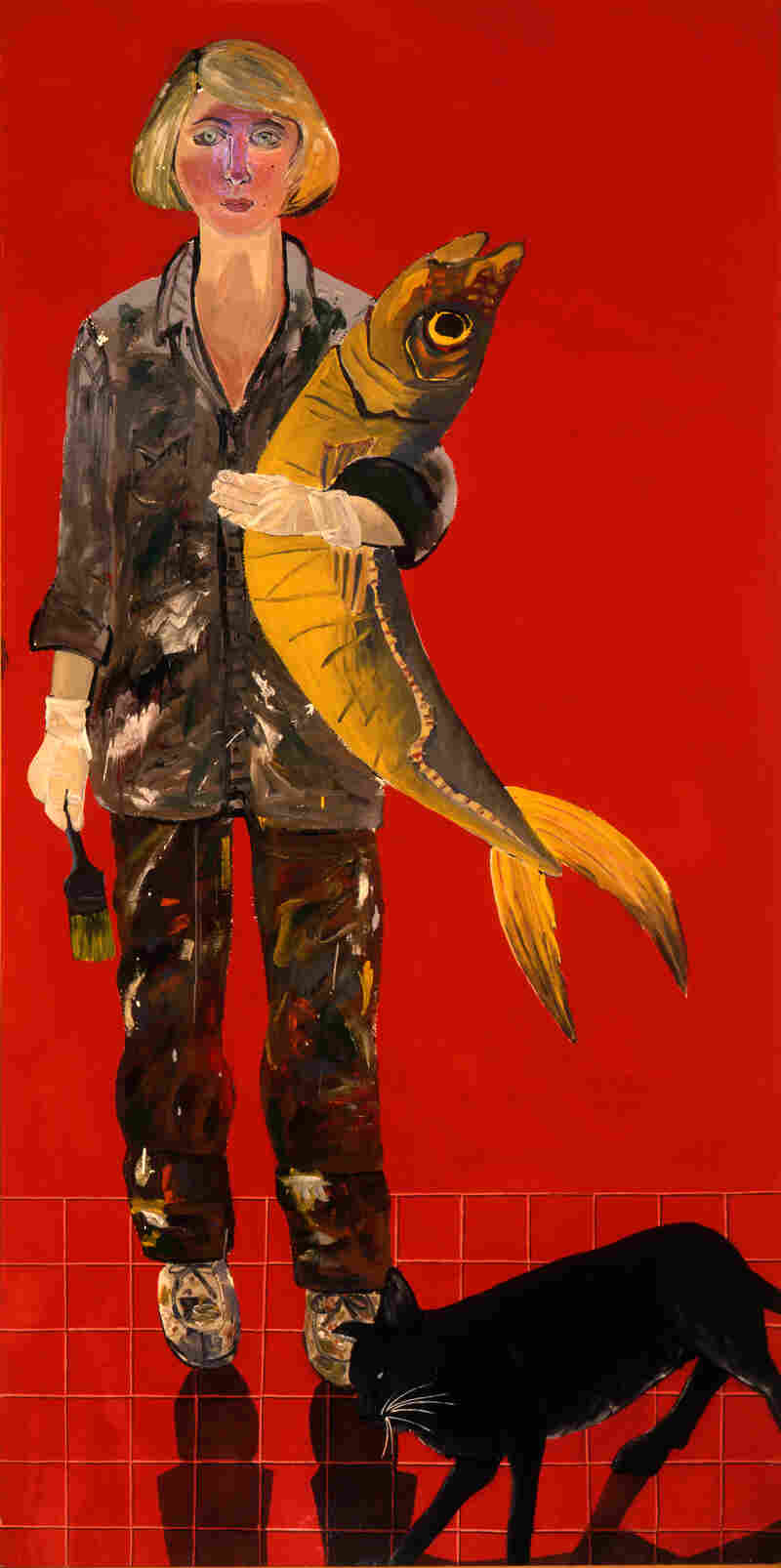 """Joan Brown's 1970 Self-Portrait with Fish and Cat is the first image you see at the National Portrait Gallery's """"Face Value"""" exhibit."""