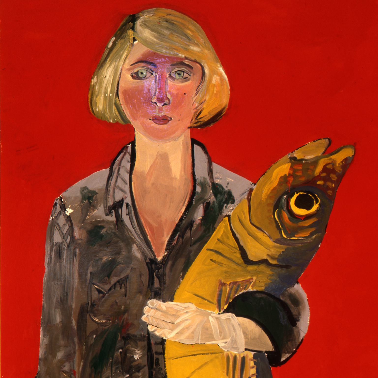 "Joan Brown's 1970 Self-Portrait with Fish and Cat is the first image you see at the National Portrait Gallery's ""Face Value"" exhibit."