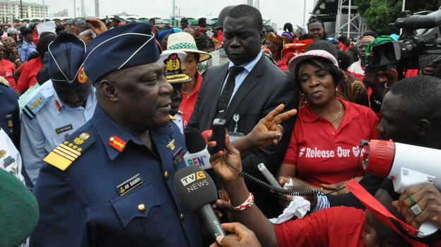 Nigeria's chief of defense staff Air Marshal Alex S. Badeh speaks during a demonstration in Ab