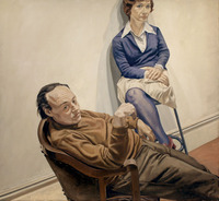 "Philip Pearlstein ""poses his people like objects,"" says curator Brandon Fortune. In 1968 he painted a portrait of two friends -- married artist couple Al Held and Sylvia Stone."