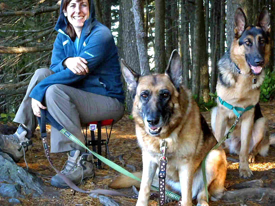 Kari Neumeyer feeds her dogs, Leo and Mia, a raw food diet supplemented by kibble, which she says is more natural than commercial dog food.