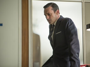 Jon Hamm as Don Draper, who ended the first half of Mad Men's last season in a state of uncertainty — as always.
