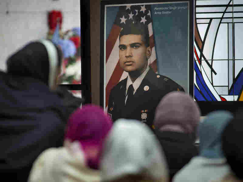 A photograph of Parminder Singh Shergill is displayed during his funeral services at Cherokee Memorial Park in Lodi, Calif., on Feb. 8.