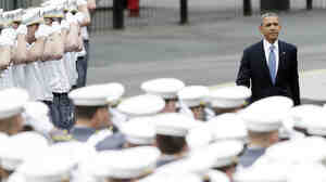 President Obama enters before speaking at the West Point graduation ceremony on Wednesday.