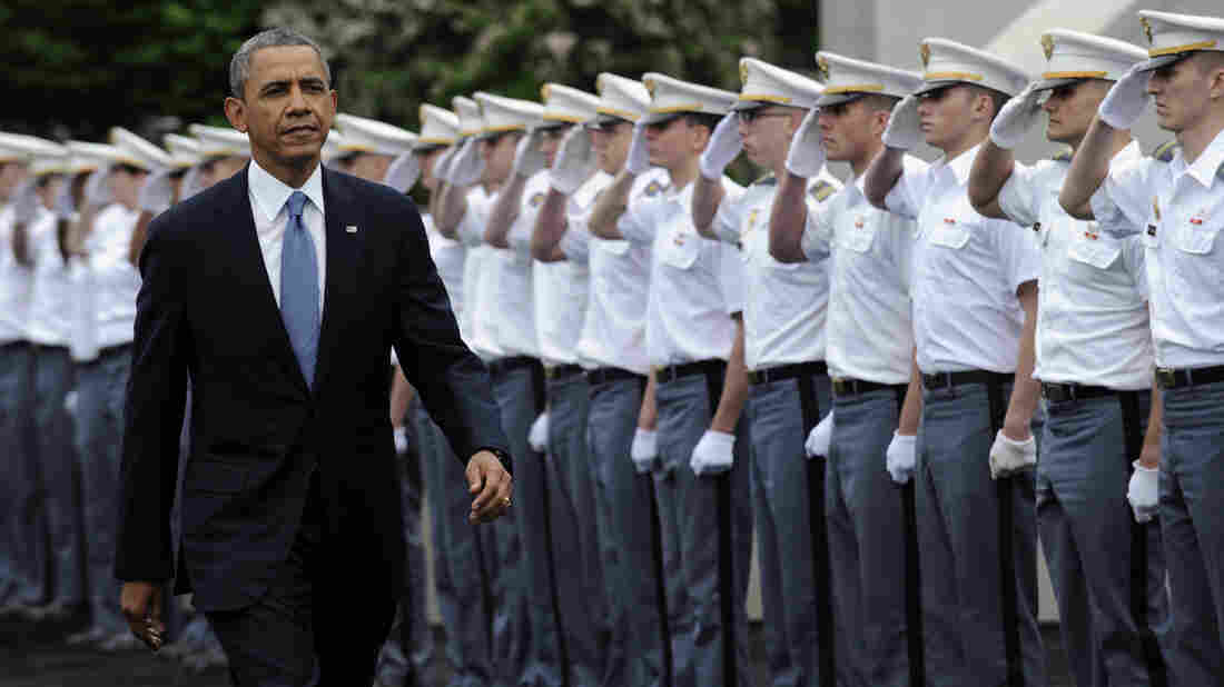 """President Obama arrives to deliver the commencement address to the Military Academy at West Point on Wednesday. In a broad defense of his foreign policy, the president declared that the U.S. remains the world's most indispensable nation, even after a """"long season of war,"""" but he underscored that not every global problem has a military solution."""