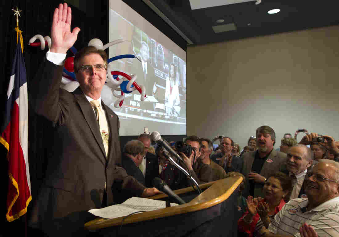 Republican Dan Patrick at his victory party on Tuesday. Patrick defeated incumbent David Dewhurst to capture the Texas GOP lieutenant governor's nomination.