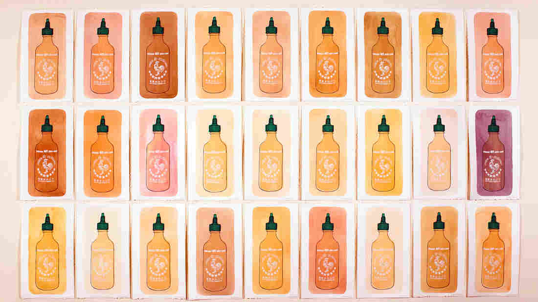 Ching Ching Cheng painted each panel of her screen-printed Sriracha Hot Chili Sauces with a layer of the sauce, which changes color over time as it dries and ages.