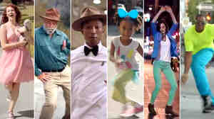 "A variety of dancing people from Pharrell Williams' video for the song ""Happy."""