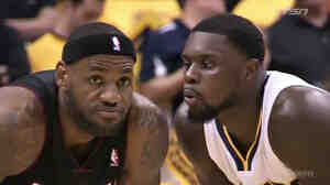 Lance Stephenson blows into Lebron James' ear during their playoff game Wednesday night.
