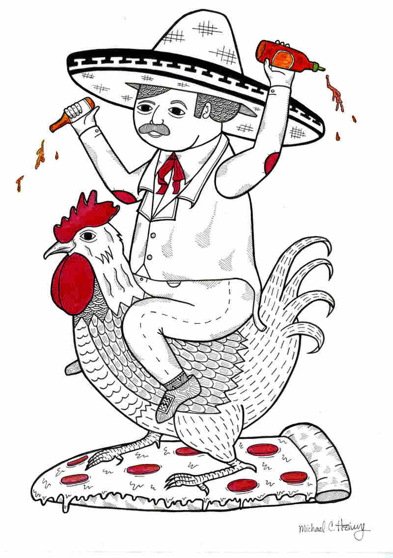 Michael C. Hsiung's On The Topic of How Various Sauces Can Make Pizza Better is a drawing of the Tapatio logo's sombrero-wearing man riding the Sriracha logo's rooster.