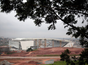 The World Cup will come to the Arena de Sao Paola, shown here when it was under construction last fall. Brazil is