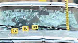 The 1979 Chevrolet Malibu that was caught in a hail of gunfire after a 23-minute chase in 2012. Two unarmed suspects were killed.