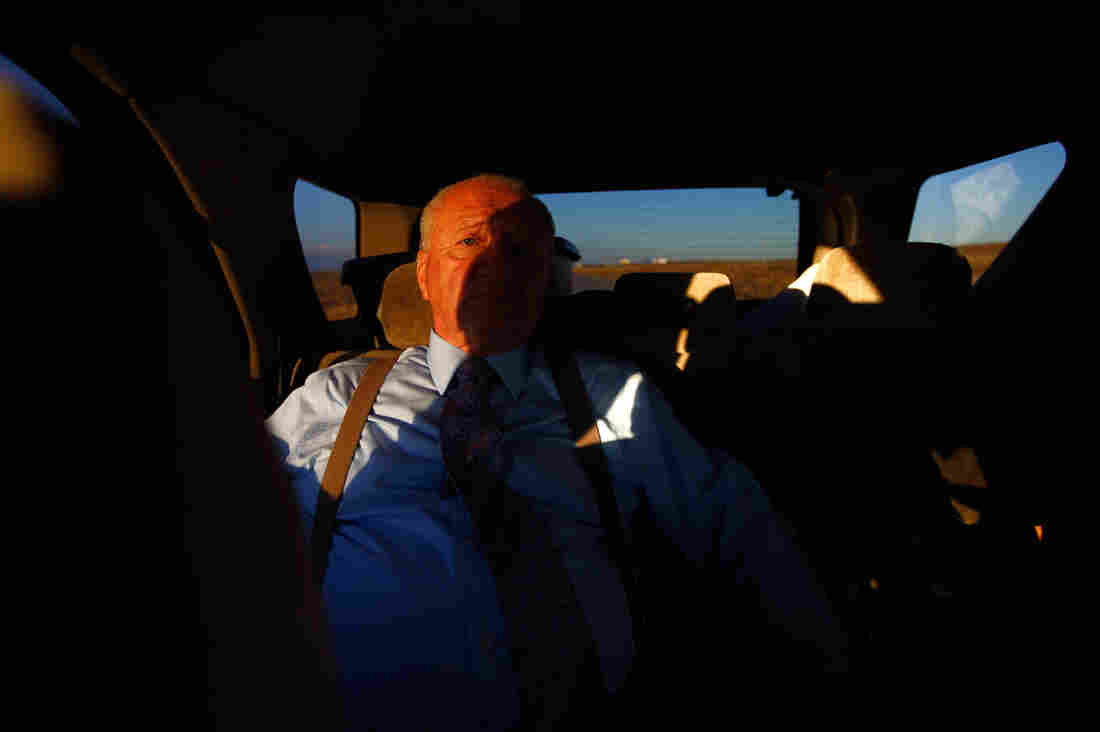 John Huckleberry sits in the back seat of a friend's car on the way back from visiting inmates at Sterling Correctional Facility. After 30 years in prison, Huckleberry — who was released in 2012 — helps aging inmates prepare for life outside prison.