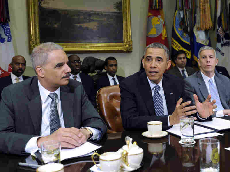 President Obama, with Attorney General Eric Holder and Housing and Urban Development Secretary Shaun Donovan, speaks about a report from My Brother's Keeper, an initiative to expand opportunities for young men and boys of color.